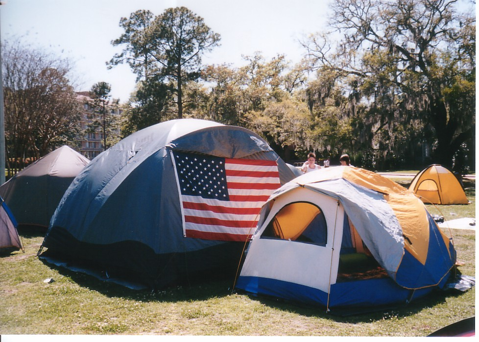 Flag on tent & Tent City 03.jpg